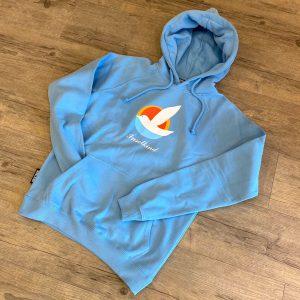Inselkind Hoodie hellblau Möwendruck - 99,95€